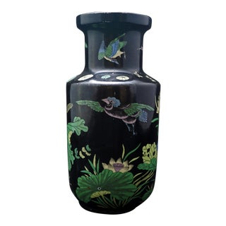 Chinese Famille Noire Kangxi-Style Porcelain Vase For Sale