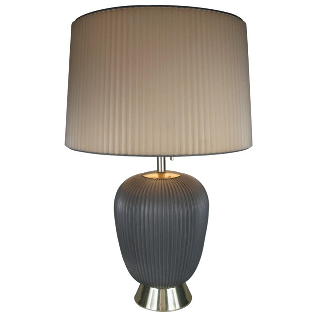 Dark Gray Modern 1950's Ceramic Lamp by Gerald Thurston for Lightolier For Sale - Image 8 of 8