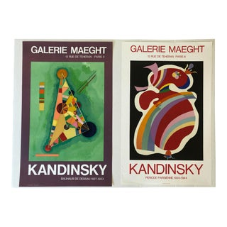 Vintage Mid-Century Wassily Kandinsky Gallery Maeght Lithograph Posters - A Pair For Sale