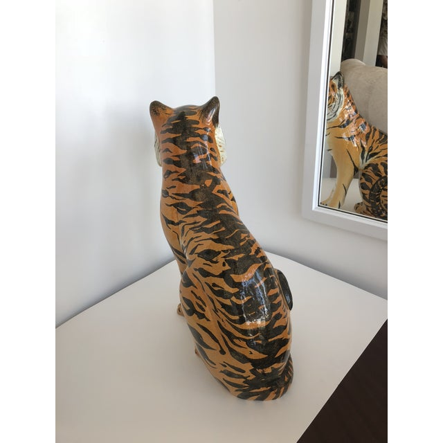 Boho Chic Vintage Italian Terracotta Tiger For Sale - Image 3 of 9