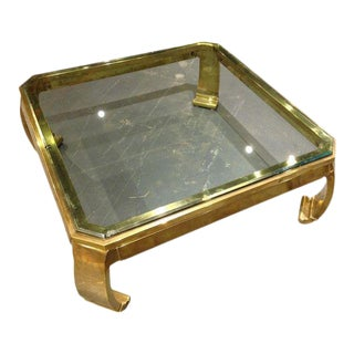 1970s Hollywood Regency Karl Springer Brass Coffee Table For Sale