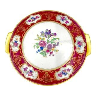 Vintage H&b Selb Heinrich Bavaria Floral Gilt Cake Platter For Sale