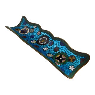 French Turquoise Cloisonne Champleve Enamel Footed Antique Pen Rest