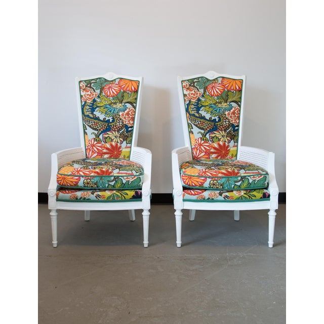 Beautiful pair of vintage 1970's Thomasville caned tall back chairs newly covered in colorful Schumacher textile. Frames...