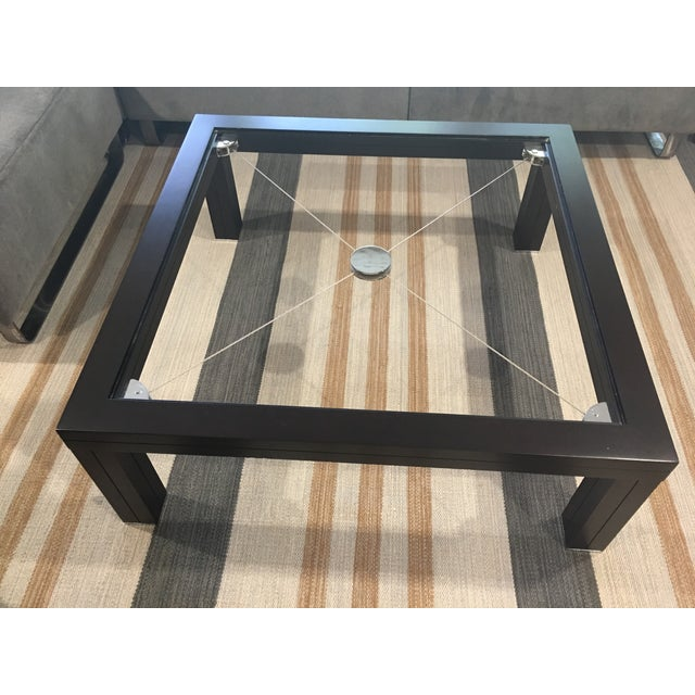Silver Roche Bobois Modern European Glass Top Coffee Table With Chrome Tension Wire For Sale - Image 8 of 10