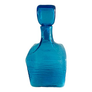 1960s Blenko Joel Myers #6224 L Textured Glass Decanter in Turquoise For Sale