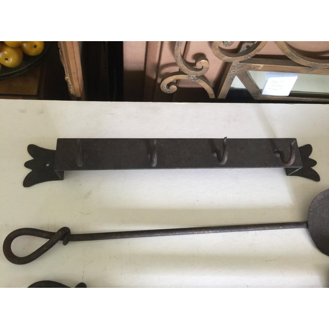 Metal Antique Wrought Iron Fireplace Tool Set Wall Mount For Sale - Image 7 of 11