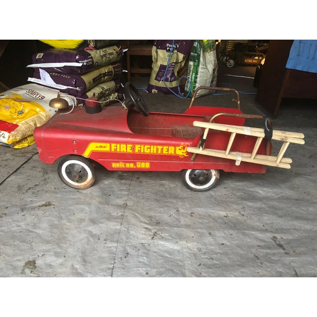 Red Vintage Fire Engine Toy Pedal Car With Ladders For Sale - Image 8 of 8