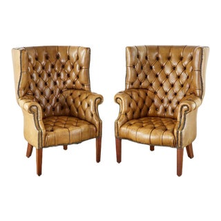 English Georgian Cigar Leather Porters Wingback Chairs - a Pair For Sale