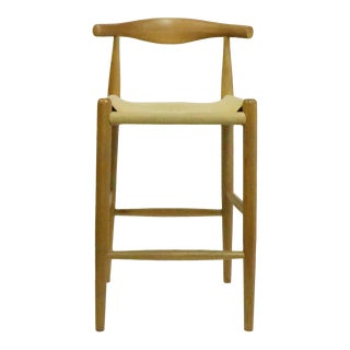Wegner Style Elbow Counter Stool For Sale