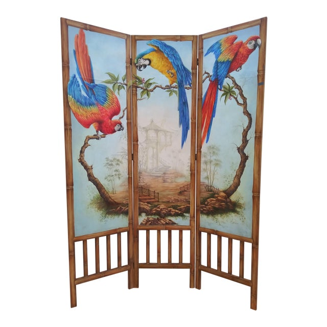 Chinoiserie Picturesque Tropical Double Sided Hand Painted Room Divider For Sale