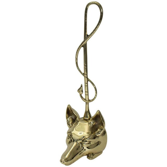 Edwardian Style Fox and Riding Crop Door Stop Polished Brass For Sale - Image 11 of 12