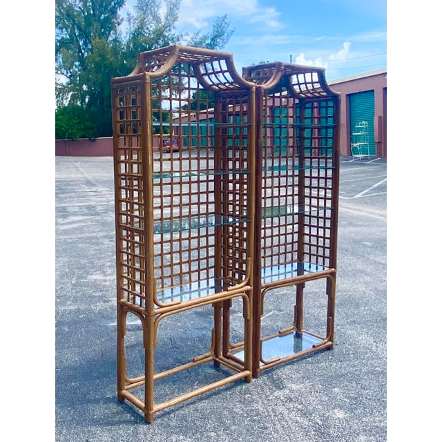 Coffee Vintage Hollywood Regency Bamboo Pagoda Etagere - a Pair For Sale - Image 8 of 8