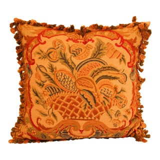 Large Tapestry Aubusson Style Decorative Pillow For Sale
