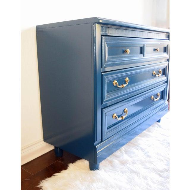 Vintage Blue Glossy Dresser For Sale - Image 4 of 10