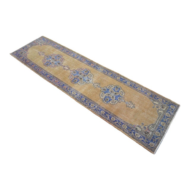 Traditional Design Distressed Oushak Runner Rug Faded Colors Low Pile - 2'12″ X 10'10″ For Sale
