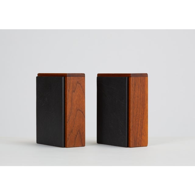 Pair of Scandinavian Modern Slate and Teak Bookends For Sale - Image 11 of 11