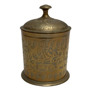 Vintage Bohemian Etched Brass Container For Sale