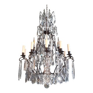Fine French Crystal Chandelier Antique Ceiling Lamp Lustre Art Nouveau Lamp 1930 For Sale