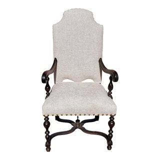 19th Century Baroque Style Walnut Armchair Upholstered in Chenille Fabric For Sale
