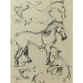 Jose Trujillo Modern Abstract Signed Original Charcoal Drawing Horse Studies For Sale