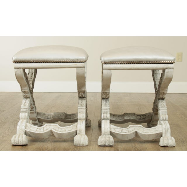 Italian Baroque Style Carved White Painted X Stools, Benches - a Pair For Sale - Image 4 of 13