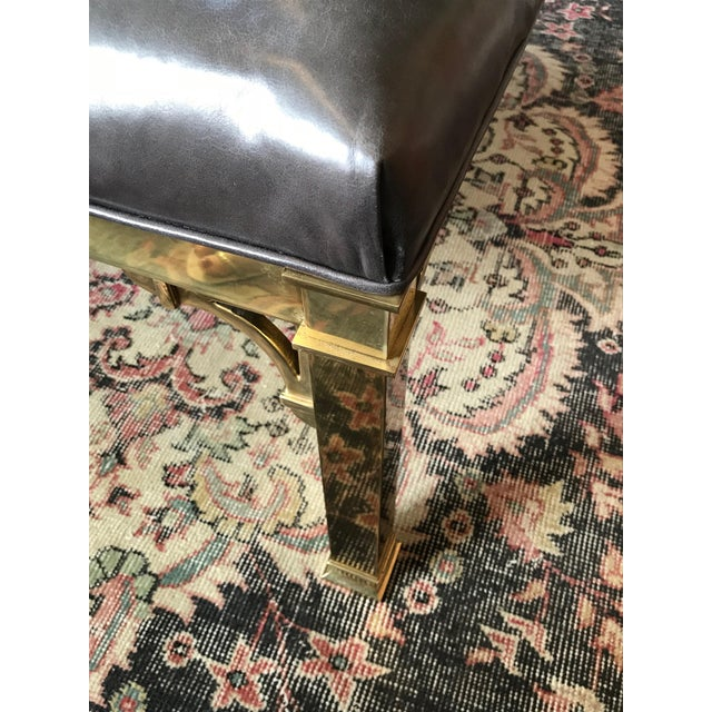 Early 20th Century Hollywood Regency Restored Brass Coffee Table/Ottoman For Sale - Image 4 of 9