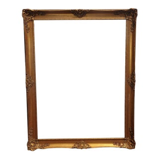 "Large Vintage French Provincial Gold Picture Frame 56"" X 43"" For Sale"