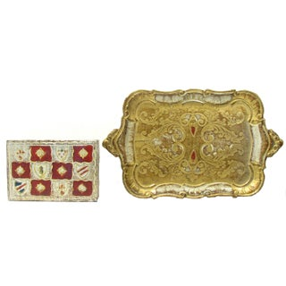 Florentine Gilt Box & Tray - Pair For Sale
