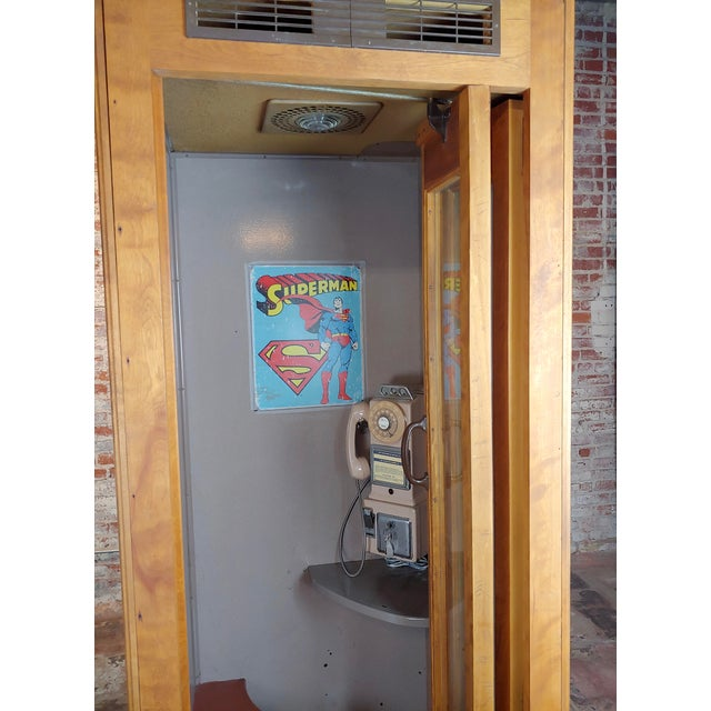 1950s Vintage Wooden Superman Telephone Booth With Phone