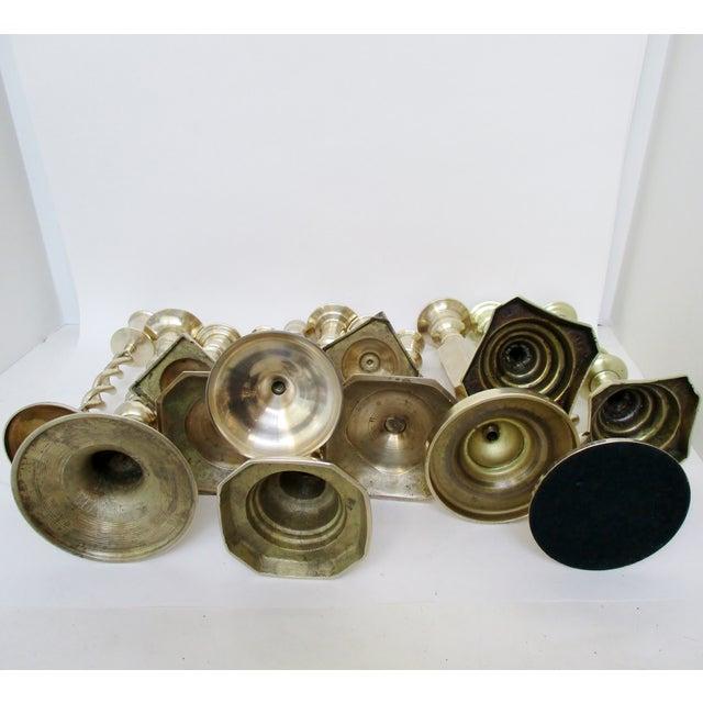 Metal Brass Mismatched Candlesticks, Set of 12 For Sale - Image 7 of 8