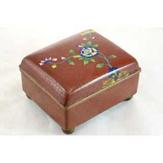 1920s Chinese Red Floral Cloisonné Box Preview