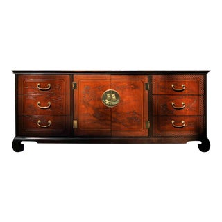 1970s Chinoiserie Drexel Heritage Connoisseur Collection Credenza Sideboard For Sale