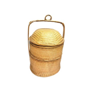Vintage Woven Chinese Wedding Basket For Sale