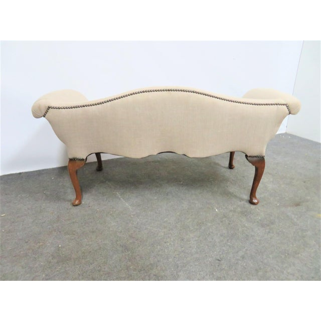 Queen Anne Queen Anne Linen Upholstered Bench For Sale - Image 3 of 7