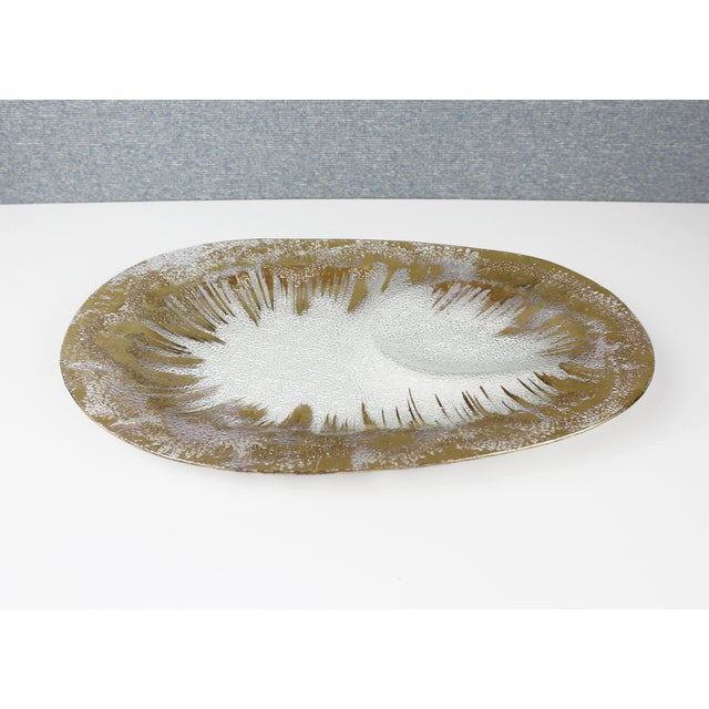 Beautiful glass serving platter or tray designed by Dorothy Thorpe. Gold decorative finish with textured detail. Excellent...
