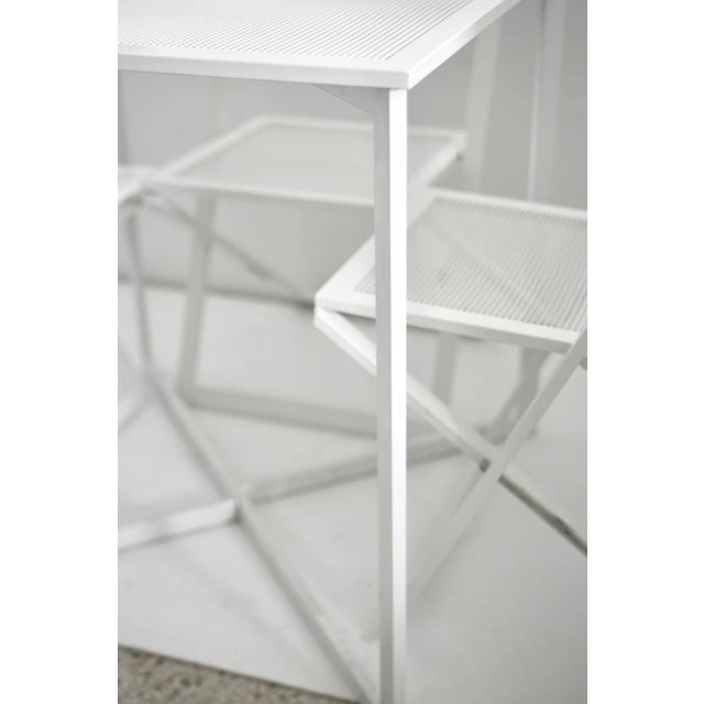 Metal 1970s Modern White Five-Piece Patio Dining Set For Sale - Image 7 of 9