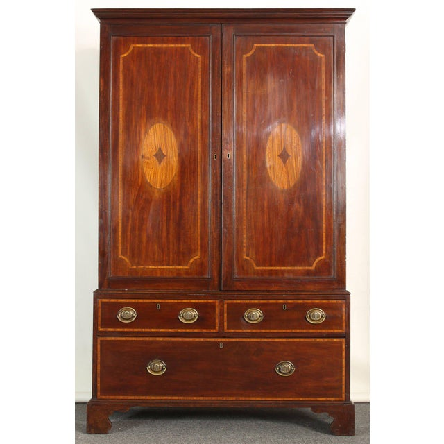 19th Century Mahogany Linen Press For Sale - Image 4 of 5