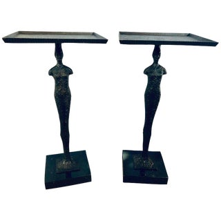 Pair of Olago Giocometti Style Tray Stands For Sale