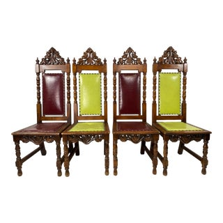 AntiqueGothic Dining Chairs - Set of 4 For Sale