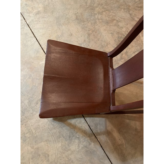 Antique Carved Scrolled Splat Back Solid Wood Brown Painted Children's Rocking Chair For Sale - Image 11 of 13