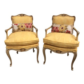 1960's French Provincial Reproduction Antique White French Fauteuils - a Pair For Sale