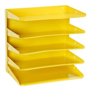 Retro Office Mail File Organizer Refinished in Yellow For Sale