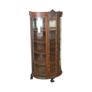 Unusual Antique Oak Bow Glass Small Victorian China Cabinet