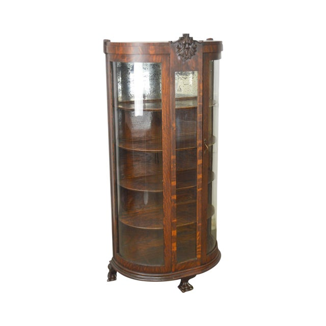 Unusual Antique Oak Bow Glass Small Victorian China Cabinet For Sale