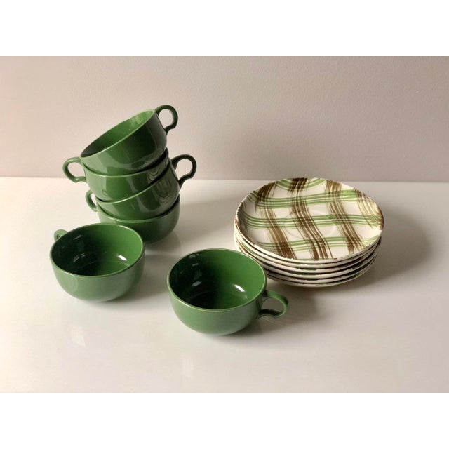 Vintage Green And Brown Plaid Tea Cups And Saucers Set Of 6 Chairish