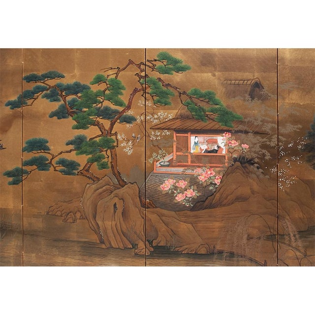 1920s Vintage Japanese Landscape Scene Byobu Screen For Sale - Image 4 of 13