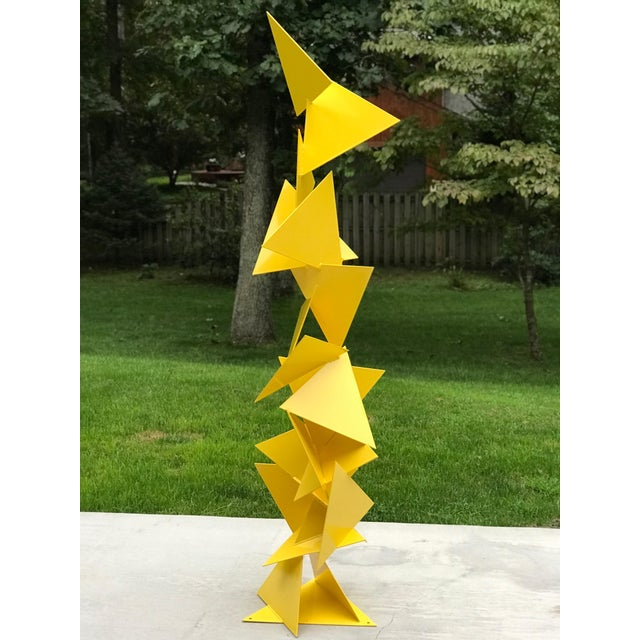 """Abstract Modern """"Trougao"""" Yellow Triangle Garden Sculpture For Sale In Philadelphia - Image 6 of 6"""