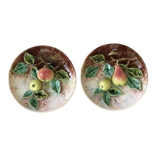 Late 19th Century Vintage Majolica Apples & Pears Platter- A Pair For Sale