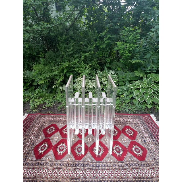 1970s Vintage Hollywood Regency Verano Stacked Lucite Table Base For Sale In Chicago - Image 6 of 6